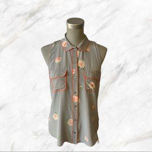 4/$30 🌿 P.J.K.   Floral Print Grey Blouse